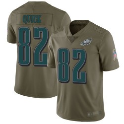 Limited Youth Mike Quick Olive Jersey - #82 Football Philadelphia Eagles 2017 Salute to Service