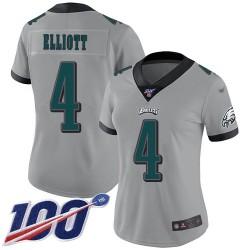 Limited Women's Jake Elliott Silver Jersey - #4 Football Philadelphia Eagles 100th Season Inverted Legend