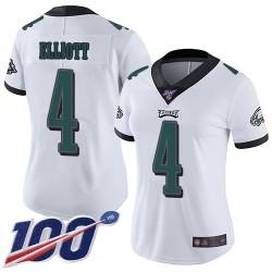 Limited Women's Jake Elliott White Road Jersey - #4 Football Philadelphia Eagles 100th Season Vapor Untouchable