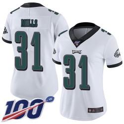 Limited Women's Jalen Mills White Road Jersey - #31 Football Philadelphia Eagles 100th Season Vapor Untouchable