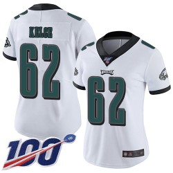 Limited Women's Jason Kelce White Road Jersey - #62 Football Philadelphia Eagles 100th Season Vapor Untouchable