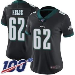 Limited Women's Jason Kelce Black Alternate Jersey - #62 Football Philadelphia Eagles 100th Season Vapor Untouchable
