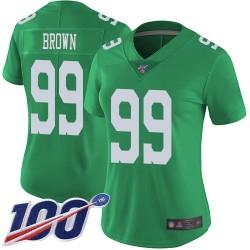 Limited Women's Jerome Brown Green Jersey - #99 Football Philadelphia Eagles 100th Season Rush Vapor Untouchable