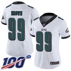Limited Women's Jerome Brown White Road Jersey - #99 Football Philadelphia Eagles 100th Season Vapor Untouchable