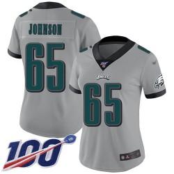 Limited Women's Lane Johnson Silver Jersey - #65 Football Philadelphia Eagles 100th Season Inverted Legend