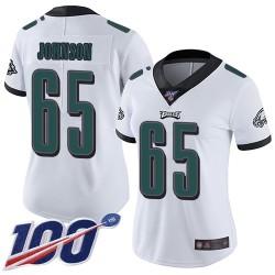Limited Women's Lane Johnson White Road Jersey - #65 Football Philadelphia Eagles 100th Season Vapor Untouchable