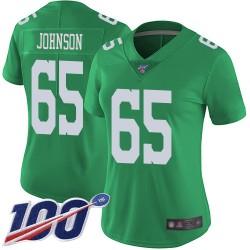 Limited Women's Lane Johnson Green Jersey - #65 Football Philadelphia Eagles 100th Season Rush Vapor Untouchable