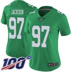 Limited Women's Malik Jackson Green Jersey - #97 Football Philadelphia Eagles 100th Season Rush Vapor Untouchable