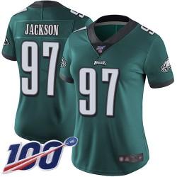 Limited Women's Malik Jackson Midnight Green Home Jersey - #97 Football Philadelphia Eagles 100th Season Vapor Untouchable