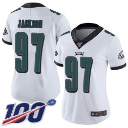 Limited Women's Malik Jackson White Road Jersey - #97 Football Philadelphia Eagles 100th Season Vapor Untouchable
