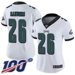 Limited Women's Miles Sanders White Road Jersey - #26 Football Philadelphia Eagles 100th Season Vapor Untouchable