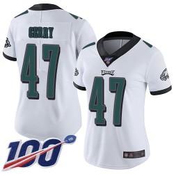 Limited Women's Nate Gerry White Road Jersey - #47 Football Philadelphia Eagles 100th Season Vapor Untouchable
