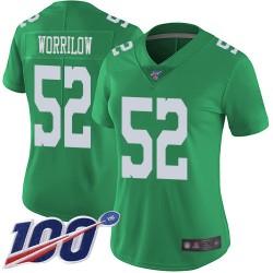 Limited Women's Paul Worrilow Green Jersey - #52 Football Philadelphia Eagles 100th Season Rush Vapor Untouchable