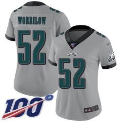 Limited Women's Paul Worrilow Silver Jersey - #52 Football Philadelphia Eagles 100th Season Inverted Legend