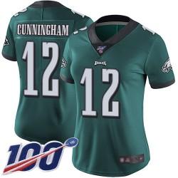 Limited Women's Randall Cunningham Midnight Green Home Jersey - #12 Football Philadelphia Eagles 100th Season Vapor Untouchable