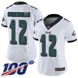 Limited Women's Randall Cunningham White Road Jersey - #12 Football Philadelphia Eagles 100th Season Vapor Untouchable