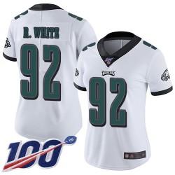 Limited Women's Reggie White White Road Jersey - #92 Football Philadelphia Eagles 100th Season Vapor Untouchable