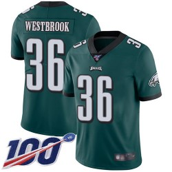 Limited Men's Brian Westbrook Midnight Green Home Jersey - #36 Football Philadelphia Eagles 100th Season Vapor Untouchable