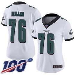 Limited Women's Shareef Miller White Road Jersey - #76 Football Philadelphia Eagles 100th Season Vapor Untouchable