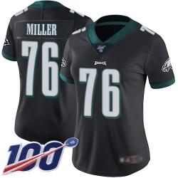 Limited Women's Shareef Miller Black Alternate Jersey - #76 Football Philadelphia Eagles 100th Season Vapor Untouchable