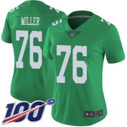 Limited Women's Shareef Miller Green Jersey - #76 Football Philadelphia Eagles 100th Season Rush Vapor Untouchable