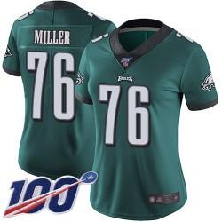 Limited Women's Shareef Miller Midnight Green Home Jersey - #76 Football Philadelphia Eagles 100th Season Vapor Untouchable