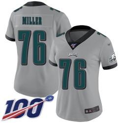 Limited Women's Shareef Miller Silver Jersey - #76 Football Philadelphia Eagles 100th Season Inverted Legend