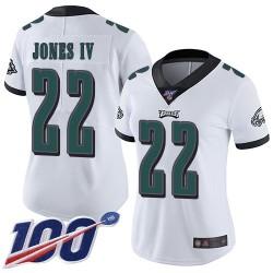 Limited Women's Sidney Jones White Road Jersey - #22 Football Philadelphia Eagles 100th Season Vapor Untouchable
