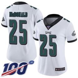 Limited Women's Tommy McDonald White Road Jersey - #25 Football Philadelphia Eagles 100th Season Vapor Untouchable