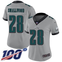 Limited Women's Wendell Smallwood Silver Jersey - #28 Football Philadelphia Eagles 100th Season Inverted Legend
