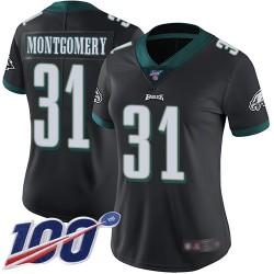Limited Women's Wilbert Montgomery Black Alternate Jersey - #31 Football Philadelphia Eagles 100th Season Vapor Untouchable