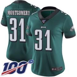 Limited Women's Wilbert Montgomery Midnight Green Home Jersey - #31 Football Philadelphia Eagles 100th Season Vapor Untouchable