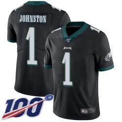 Limited Men's Cameron Johnston Black Alternate Jersey - #1 Football Philadelphia Eagles 100th Season Vapor Untouchable