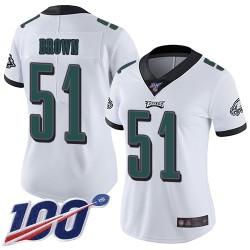 Limited Women's Zach Brown White Road Jersey - #51 Football Philadelphia Eagles 100th Season Vapor Untouchable