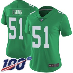 Limited Women's Zach Brown Green Jersey - #51 Football Philadelphia Eagles 100th Season Rush Vapor Untouchable