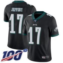 Limited Youth Alshon Jeffery Black Alternate Jersey - #17 Football Philadelphia Eagles 100th Season Vapor Untouchable