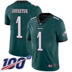 Limited Men's Cameron Johnston Midnight Green Home Jersey - #1 Football Philadelphia Eagles 100th Season Vapor Untouchable