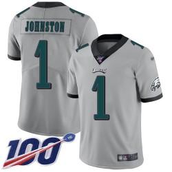 Limited Men's Cameron Johnston Silver Jersey - #1 Football Philadelphia Eagles 100th Season Inverted Legend