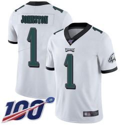 Limited Men's Cameron Johnston White Road Jersey - #1 Football Philadelphia Eagles 100th Season Vapor Untouchable