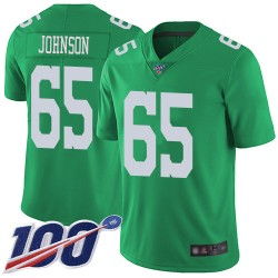 Limited Youth Lane Johnson Green Jersey - #65 Football Philadelphia Eagles 100th Season Rush Vapor Untouchable