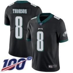 Limited Men's Clayton Thorson Black Alternate Jersey - #8 Football Philadelphia Eagles 100th Season Vapor Untouchable