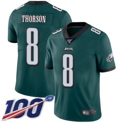 Limited Men's Clayton Thorson Midnight Green Home Jersey - #8 Football Philadelphia Eagles 100th Season Vapor Untouchable
