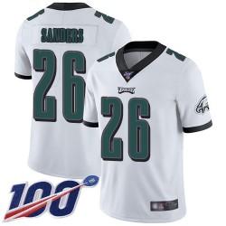 Limited Youth Miles Sanders White Road Jersey - #26 Football Philadelphia Eagles 100th Season Vapor Untouchable