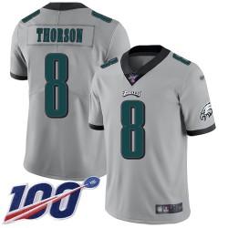 Limited Men's Clayton Thorson Silver Jersey - #8 Football Philadelphia Eagles 100th Season Inverted Legend