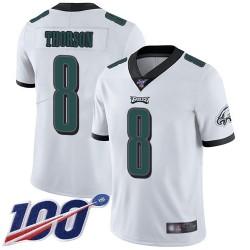 Limited Men's Clayton Thorson White Road Jersey - #8 Football Philadelphia Eagles 100th Season Vapor Untouchable