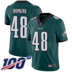 Limited Youth Wes Hopkins Midnight Green Home Jersey - #48 Football Philadelphia Eagles 100th Season Vapor Untouchable