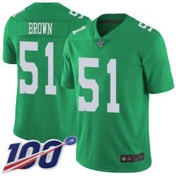 Limited Youth Zach Brown Green Jersey - #51 Football Philadelphia Eagles 100th Season Rush Vapor Untouchable